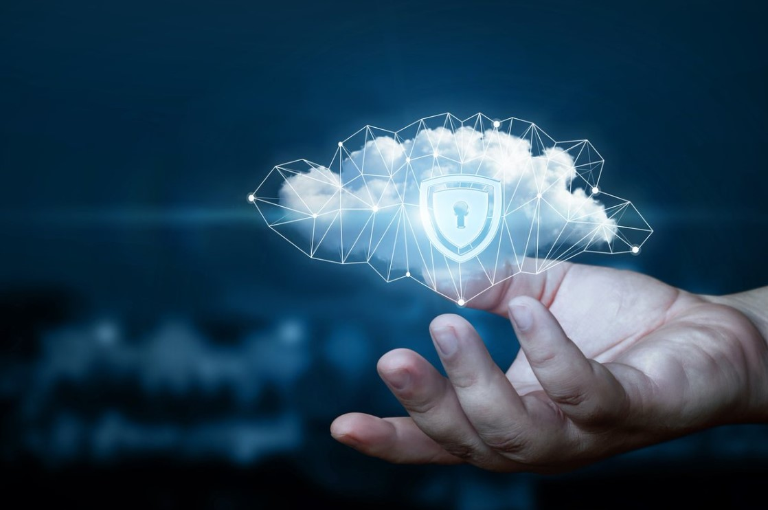 hand holding virtual cloud with cyber lock